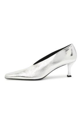 Женские кожаные туфли PROENZA SCHOULER серебряного цвета, арт. PS35202A/13031 | Фото 3 (Материал внутренний: Натуральная кожа; Каблук высота: Средний; Каблук тип: Шпилька; Подошва: Плоская)