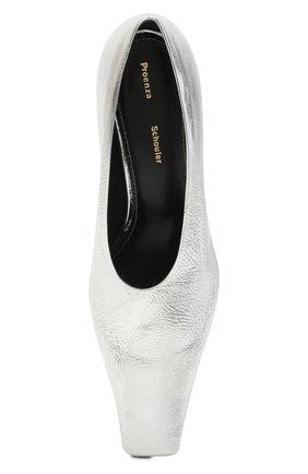 Женские кожаные туфли PROENZA SCHOULER серебряного цвета, арт. PS35202A/13031 | Фото 5 (Материал внутренний: Натуральная кожа; Каблук высота: Средний; Каблук тип: Шпилька; Подошва: Плоская)