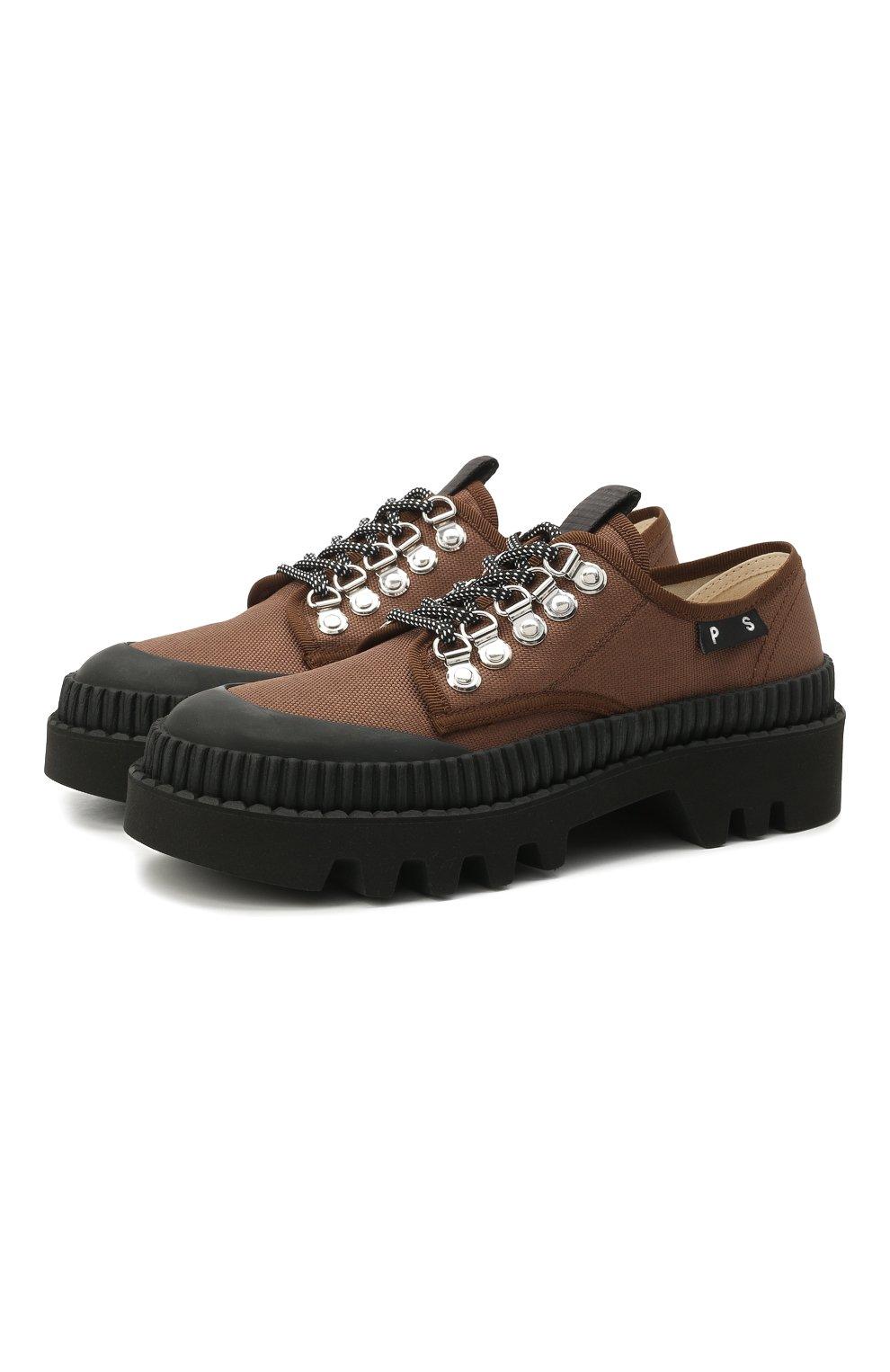 Женская текстильные ботинки PROENZA SCHOULER коричневого цвета, арт. PS32050A/13100   Фото 1