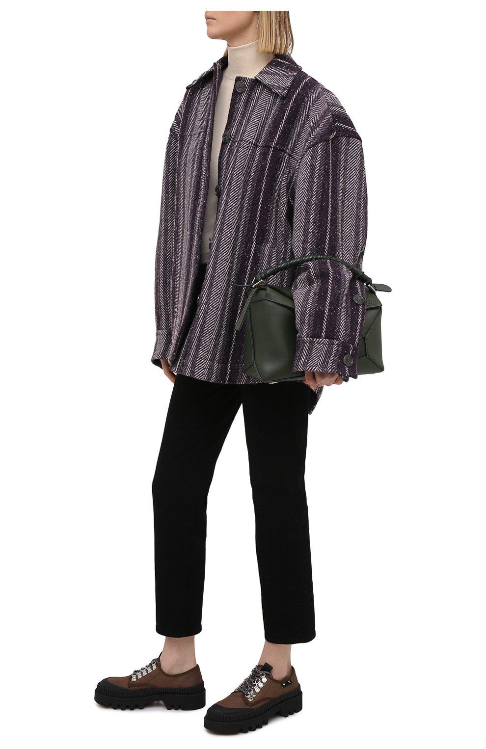 Женская текстильные ботинки PROENZA SCHOULER коричневого цвета, арт. PS32050A/13100   Фото 2