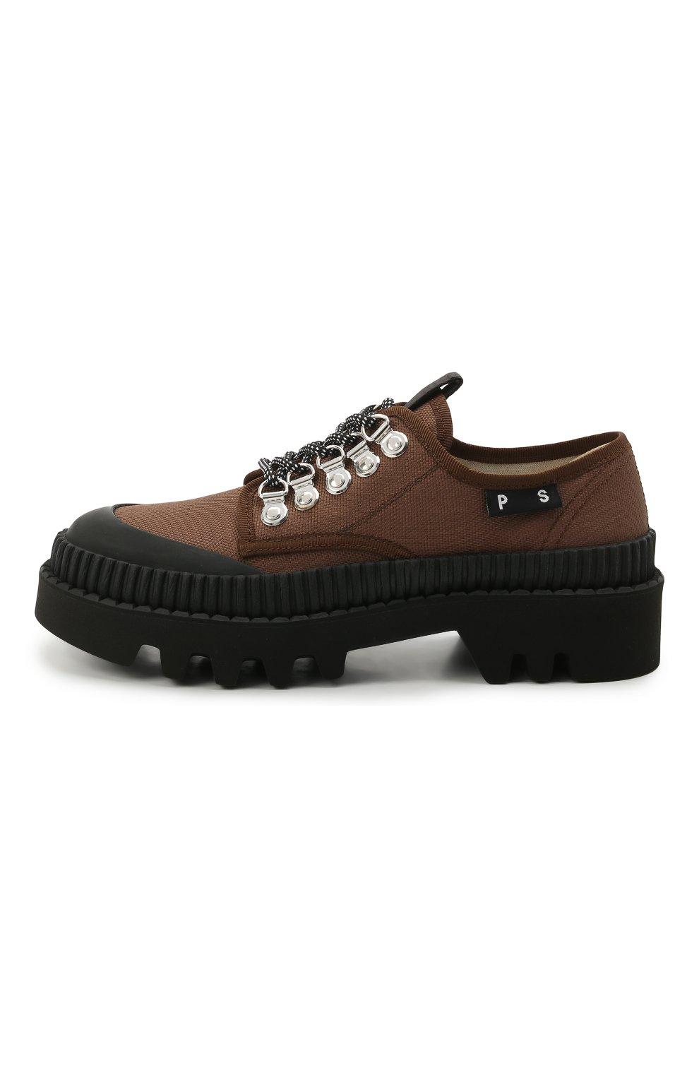 Женская текстильные ботинки PROENZA SCHOULER коричневого цвета, арт. PS32050A/13100   Фото 3