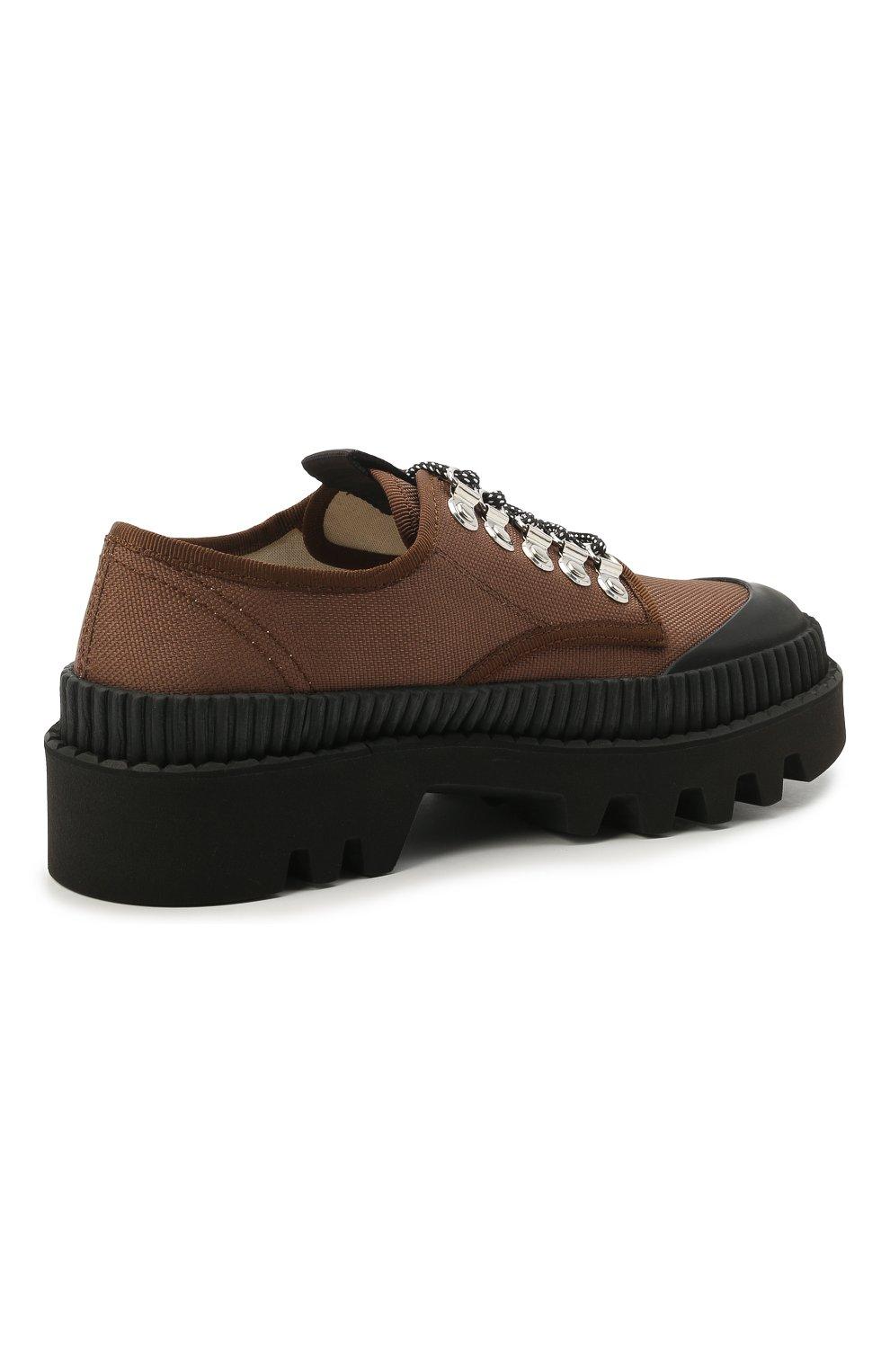 Женская текстильные ботинки PROENZA SCHOULER коричневого цвета, арт. PS32050A/13100   Фото 4