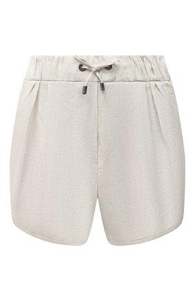 Женские льняные шорты BRUNELLO CUCINELLI светло-бежевого цвета, арт. MLB650H603 | Фото 1