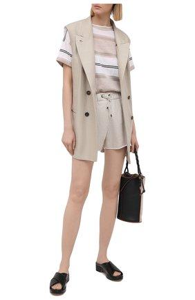 Женские льняные шорты BRUNELLO CUCINELLI светло-бежевого цвета, арт. MLB650H603 | Фото 2