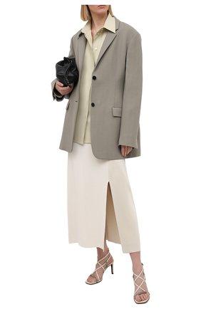 Женские кожаные босоножки BRUNELLO CUCINELLI кремвого цвета, арт. MZBSC1397 | Фото 2 (Материал внутренний: Натуральная кожа; Каблук тип: Шпилька; Каблук высота: Высокий; Подошва: Плоская; Материал внешний: Кожа)