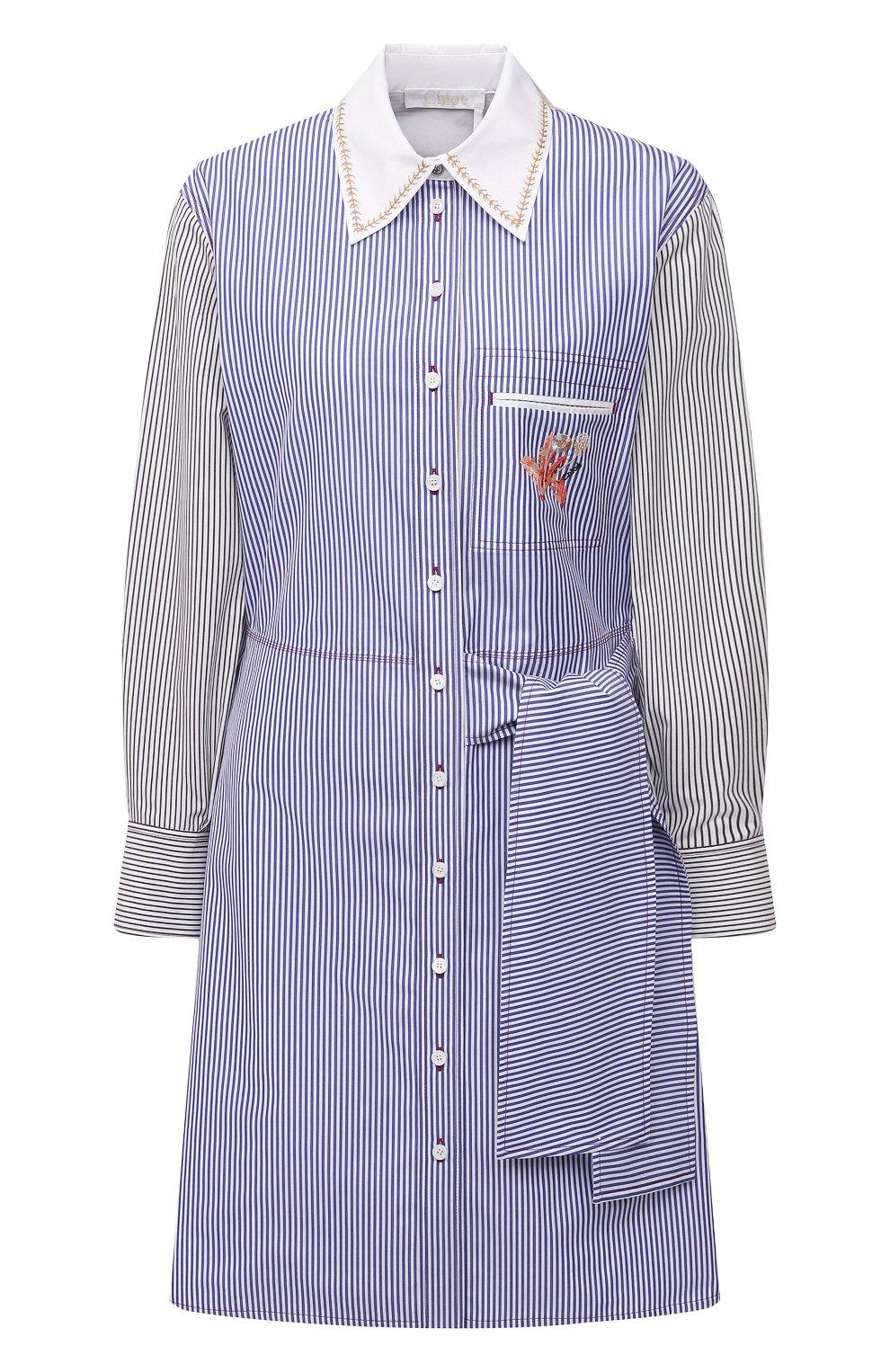 Женское хлопковое платье CHLOÉ голубого цвета, арт. CHC21SR075045   Фото 1