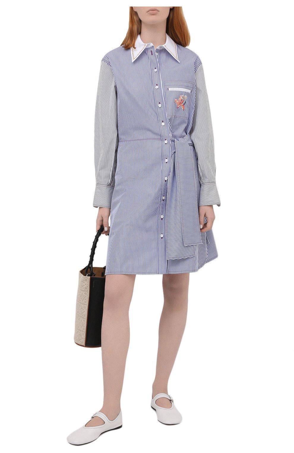 Женское хлопковое платье CHLOÉ голубого цвета, арт. CHC21SR075045   Фото 2