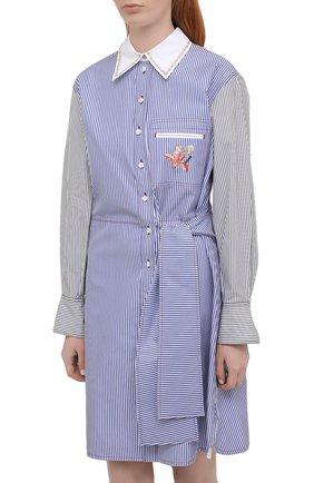 Женское хлопковое платье CHLOÉ голубого цвета, арт. CHC21SR075045   Фото 3