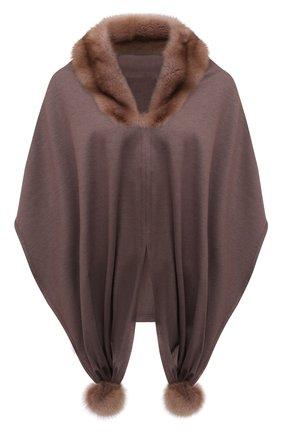 Женская накидка с отделкой из меха соболя KUSSENKOVV коричневого цвета, арт. 199303715548 | Фото 1