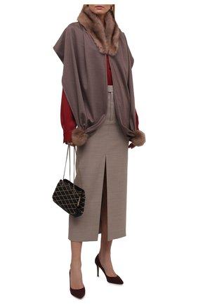 Женская накидка с отделкой из меха соболя KUSSENKOVV коричневого цвета, арт. 199303715548 | Фото 2