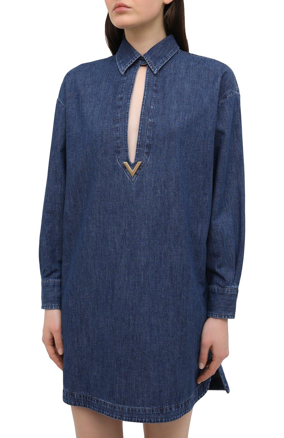 Женское джинсовое платье VALENTINO синего цвета, арт. VB3DBD26433 | Фото 3
