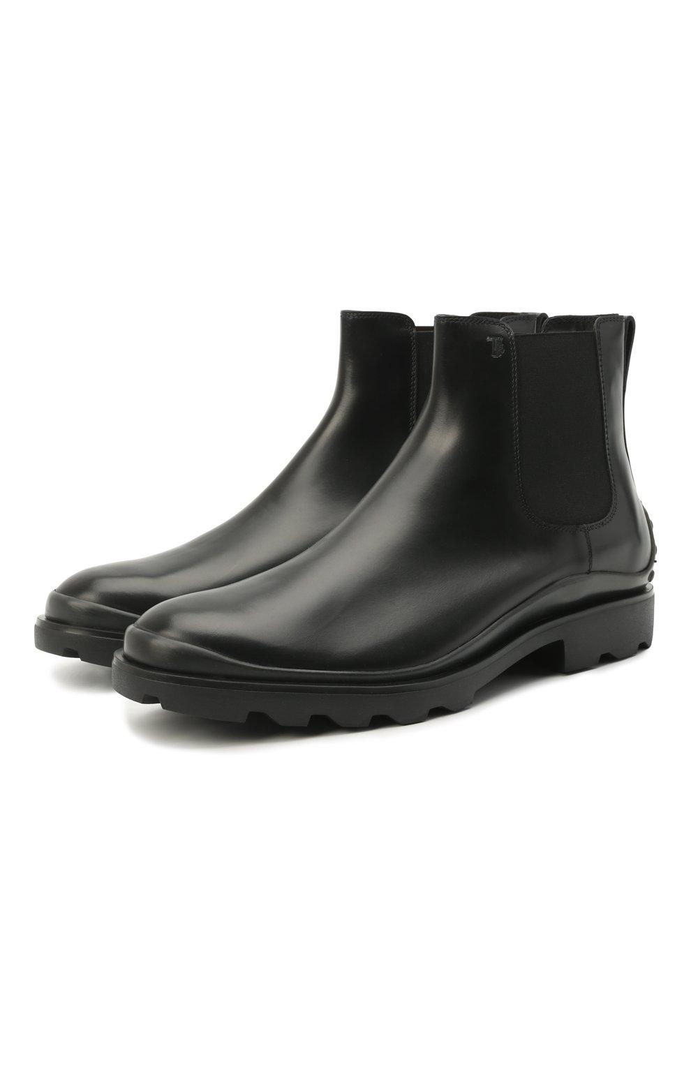 Мужские кожаные челси TOD'S черного цвета, арт. XXM04E00P20LYG | Фото 1 (Материал внутренний: Натуральная кожа; Подошва: Плоская; Мужское Кросс-КТ: Сапоги-обувь, Челси-обувь)