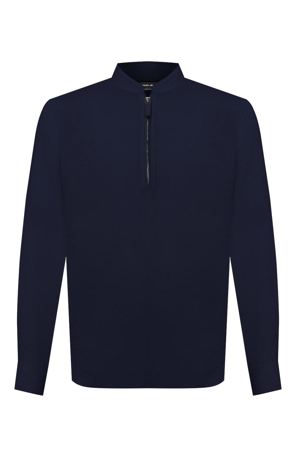 Мужская льняная рубашка GIORGIO ARMANI темно-синего цвета, арт. 1SGCCZ50/TZ256   Фото 1