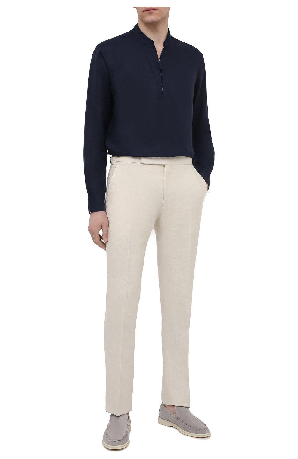 Мужская льняная рубашка GIORGIO ARMANI темно-синего цвета, арт. 1SGCCZ50/TZ256   Фото 2