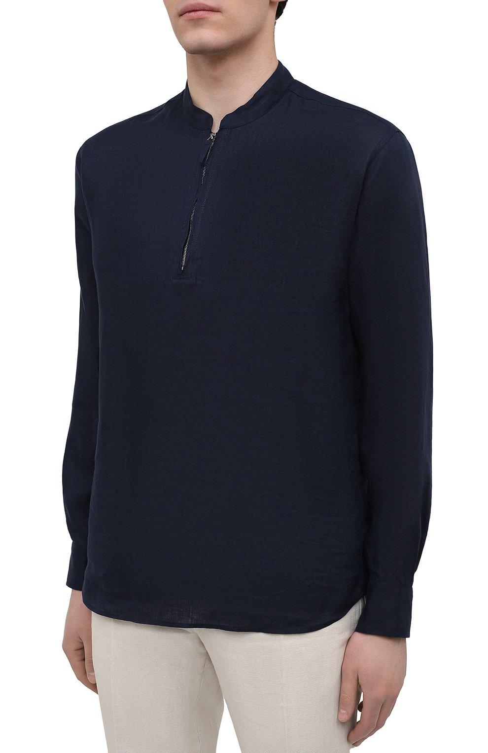 Мужская льняная рубашка GIORGIO ARMANI темно-синего цвета, арт. 1SGCCZ50/TZ256   Фото 3