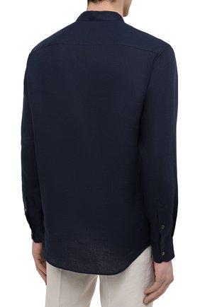 Мужская льняная рубашка GIORGIO ARMANI темно-синего цвета, арт. 1SGCCZ50/TZ256   Фото 4