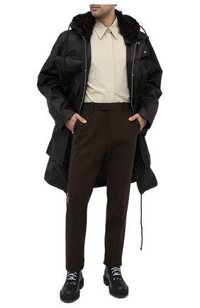 Мужская хлопковая парка BOTTEGA VENETA темно-коричневого цвета, арт. 649308/V04C0 | Фото 2 (Материал внешний: Хлопок; Длина (верхняя одежда): До колена; Стили: Минимализм; Кросс-КТ: Куртка; Материал подклада: Синтетический материал; Рукава: Длинные)