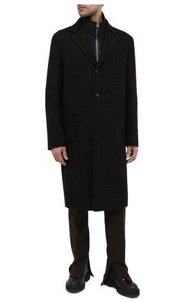 Мужской шерстяное пальто BOTTEGA VENETA темно-коричневого цвета, арт. 647396/V0BL0 | Фото 2 (Длина (верхняя одежда): До колена; Мужское Кросс-КТ: пальто-верхняя одежда; Рукава: Длинные; Материал внешний: Шерсть; Стили: Минимализм)
