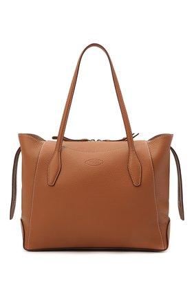 Женский сумка-шопер aos medium TOD'S светло-коричневого цвета, арт. XBWA0SA0300RIA   Фото 1