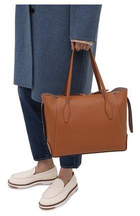 Женский сумка-шопер aos medium TOD'S светло-коричневого цвета, арт. XBWA0SA0300RIA   Фото 2