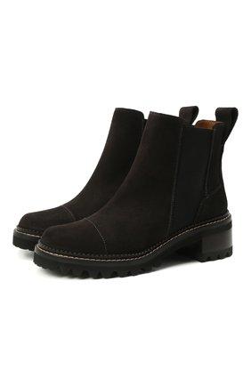Женские замшевые ботинки mallory SEE BY CHLOÉ темно-серого цвета, арт. SB33082A/13194 | Фото 1