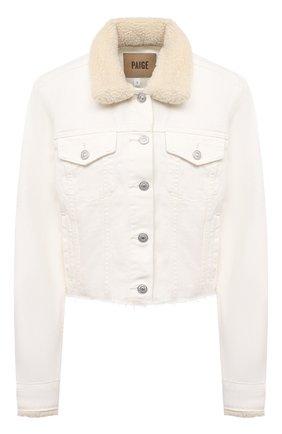 Женская джинсовая куртка PAIGE белого цвета, арт. 6359387-2420 | Фото 1