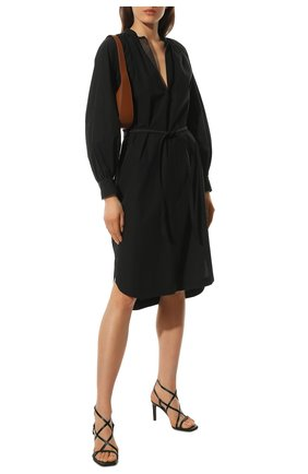Женские кожаные босоножки BRUNELLO CUCINELLI черного цвета, арт. MZBSC1397 | Фото 2 (Материал внешний: Кожа; Материал внутренний: Натуральная кожа; Каблук высота: Высокий; Каблук тип: Шпилька; Подошва: Плоская)