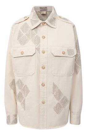 Женская хлопковая рубашка POLO RALPH LAUREN кремвого цвета, арт. 211829859 | Фото 1