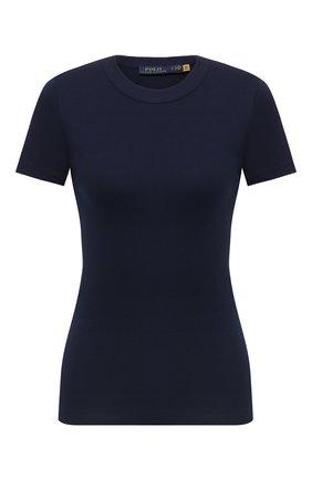 Женская хлопковая футболка POLO RALPH LAUREN темно-синего цвета, арт. 211814414 | Фото 1