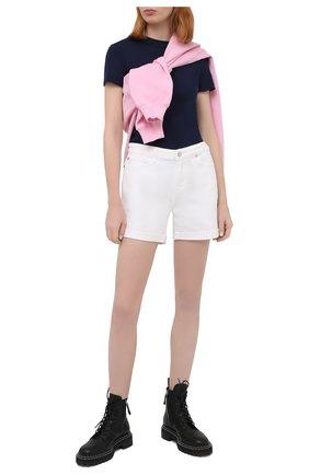 Женская хлопковая футболка POLO RALPH LAUREN темно-синего цвета, арт. 211814414 | Фото 2