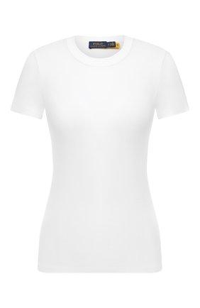 Женская хлопковая футболка POLO RALPH LAUREN белого цвета, арт. 211814414 | Фото 1