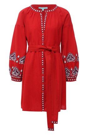 Женское платье из хлопка и льна MELISSA ODABASH красного цвета, арт. TANIA   Фото 1