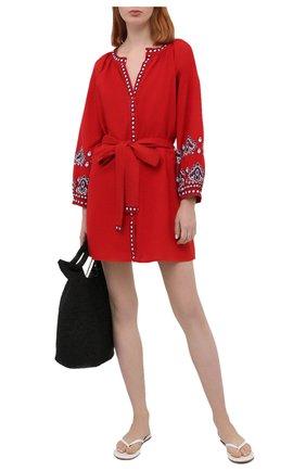 Женское платье из хлопка и льна MELISSA ODABASH красного цвета, арт. TANIA   Фото 2