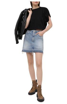Женская хлопковая футболка ISABEL MARANT черного цвета, арт. TS0779-21P027I/ZINALIA   Фото 2