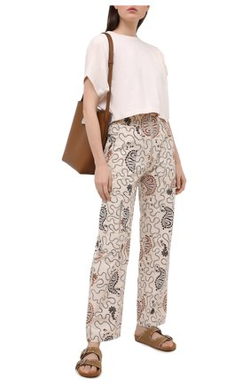 Женские хлопковые брюки ISABEL MARANT ETOILE кремвого цвета, арт. PA1868-21P015E/N0FERIS | Фото 2
