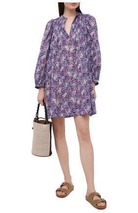 Женское хлопковое платье ISABEL MARANT ETOILE фиолетового цвета, арт. R01591-21P009E/VIRGINIE | Фото 2