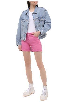 Женские джинсовые шорты 7 FOR ALL MANKIND розового цвета, арт. JSWUA850WI | Фото 2