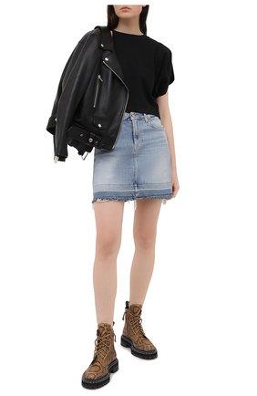 Женская джинсовая юбка 7 FOR ALL MANKIND голубого цвета, арт. JSQF1200LS | Фото 2