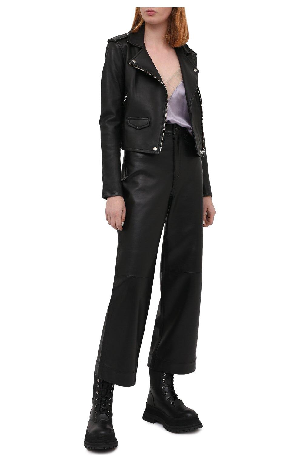 Женская кожаная куртка IRO черного цвета, арт. WF09ASHVILLE   Фото 2