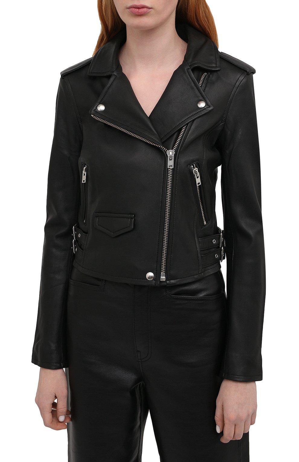 Женская кожаная куртка IRO черного цвета, арт. WF09ASHVILLE   Фото 3