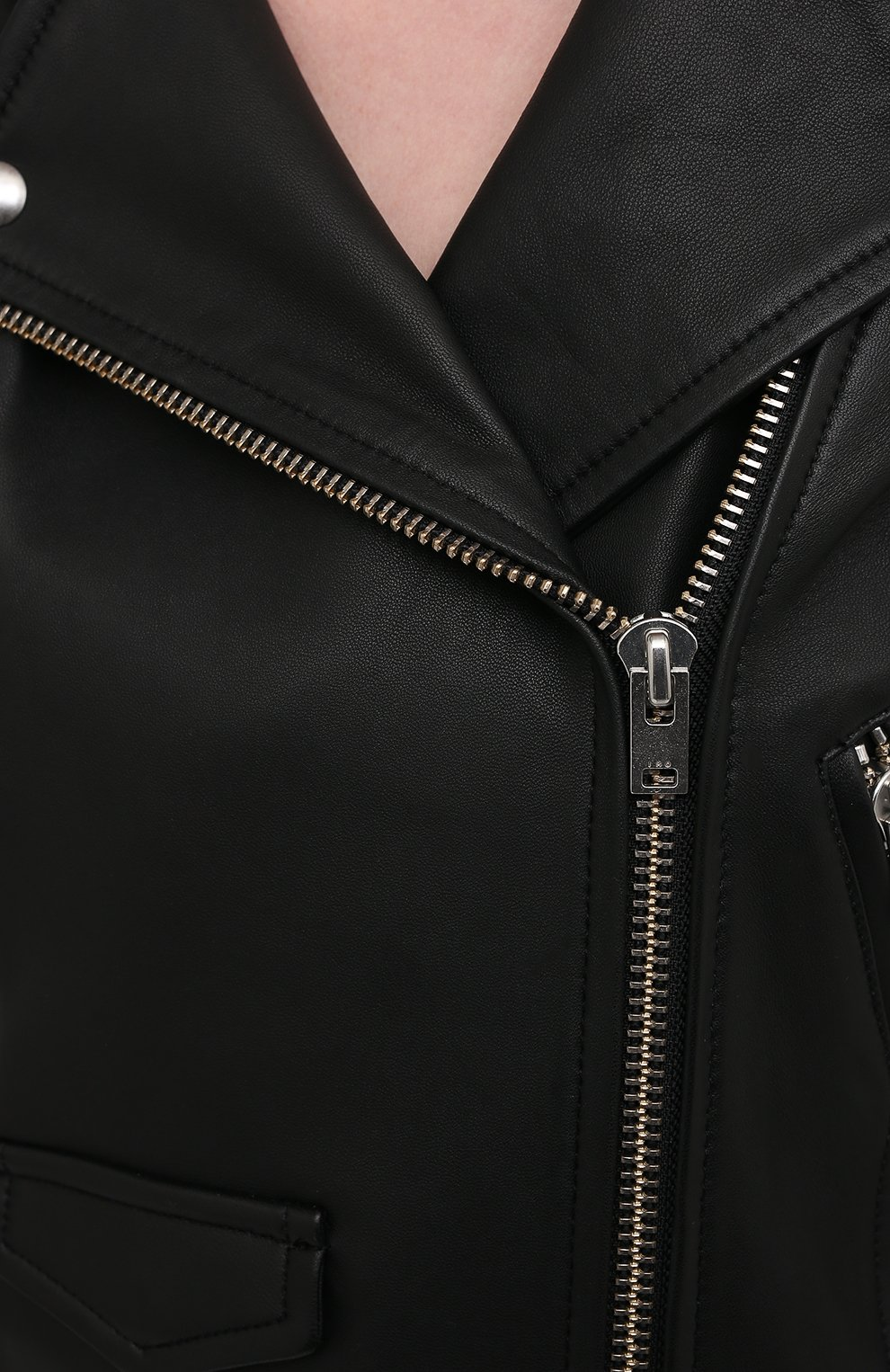 Женская кожаная куртка IRO черного цвета, арт. WF09ASHVILLE   Фото 5