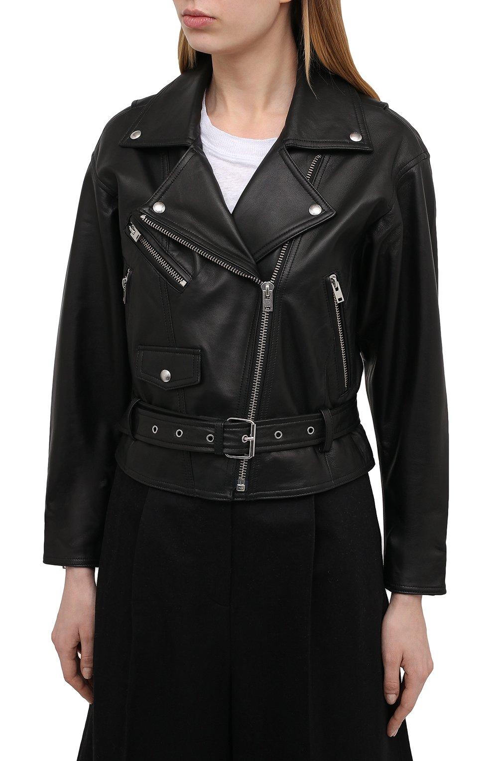 Женская кожаная куртка IRO черного цвета, арт. WP09DISTHEN | Фото 3
