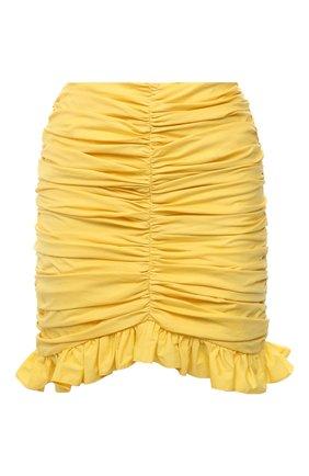 Женская хлопковая юбка GIUSEPPE DI MORABITO желтого цвета, арт. SS21045SK-126 | Фото 1