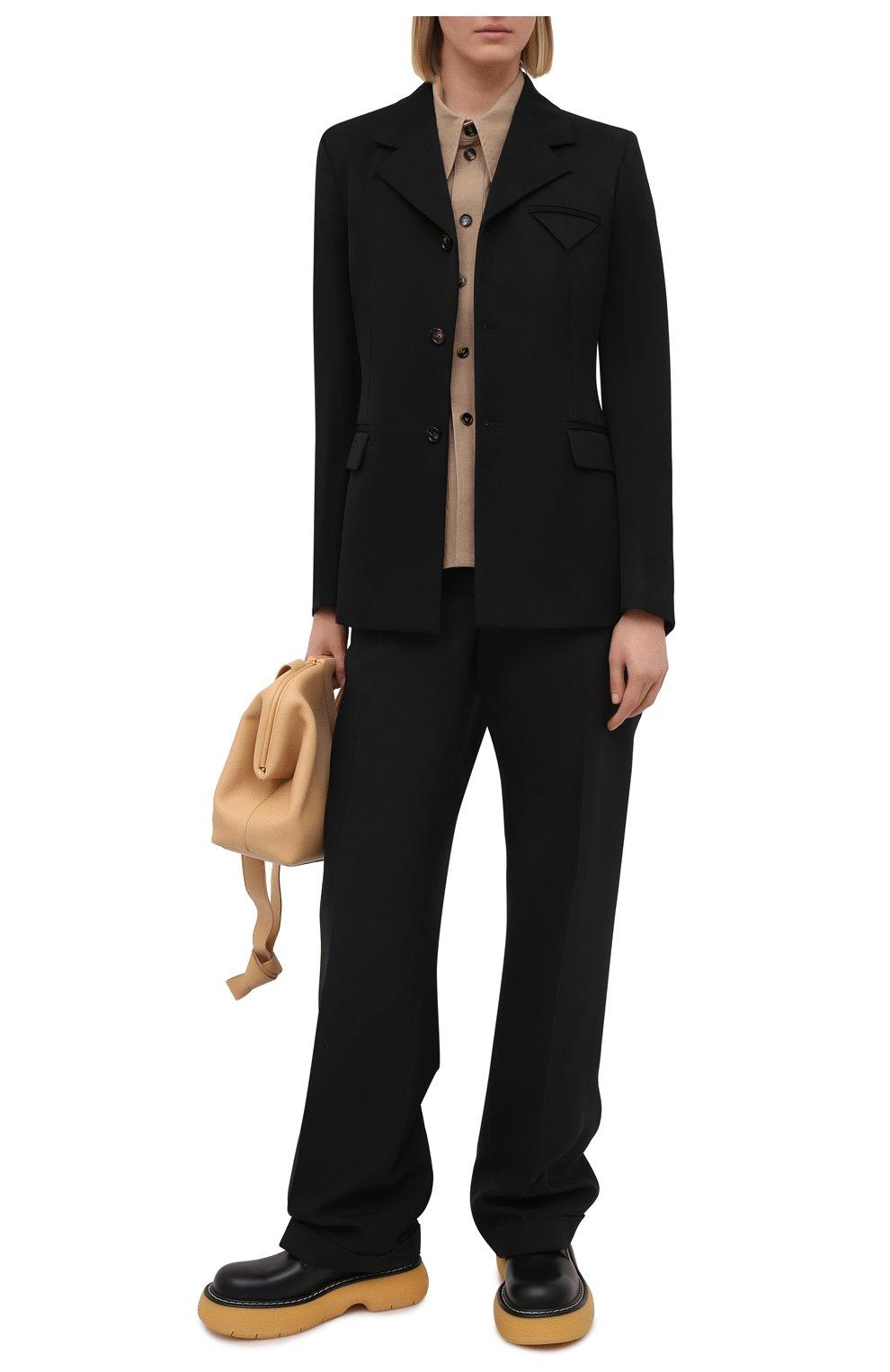 Женский шерстяной жакет BOTTEGA VENETA черного цвета, арт. 651573/VKIS0 | Фото 2 (Материал внешний: Шерсть; Рукава: Длинные; Длина (для топов): Стандартные; Случай: Формальный; Материал подклада: Вискоза; Женское Кросс-КТ: Жакет-одежда; Стили: Кэжуэл)