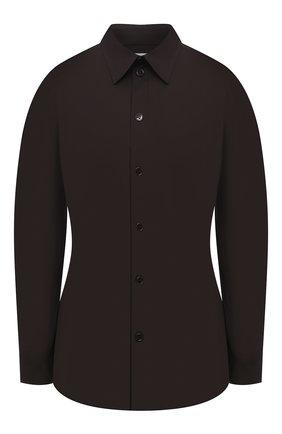 Женская хлопковая рубашка BOTTEGA VENETA темно-коричневого цвета, арт. 650826/VKIX0 | Фото 1