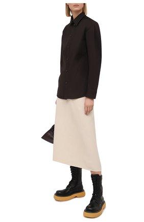 Женская хлопковая рубашка BOTTEGA VENETA темно-коричневого цвета, арт. 650826/VKIX0 | Фото 2