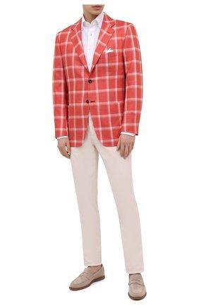 Мужской пиджак из кашемира и шелка KITON красного цвета, арт. UG81K06T02 | Фото 2 (Стили: Ретро, Классический; Материал внешний: Шелк, Кашемир, Шерсть; Материал подклада: Купро; 1-2-бортные: Однобортные; Пиджаки М: Прямой; Случай: Коктейльный; Длина (для топов): Стандартные; Рукава: Длинные)