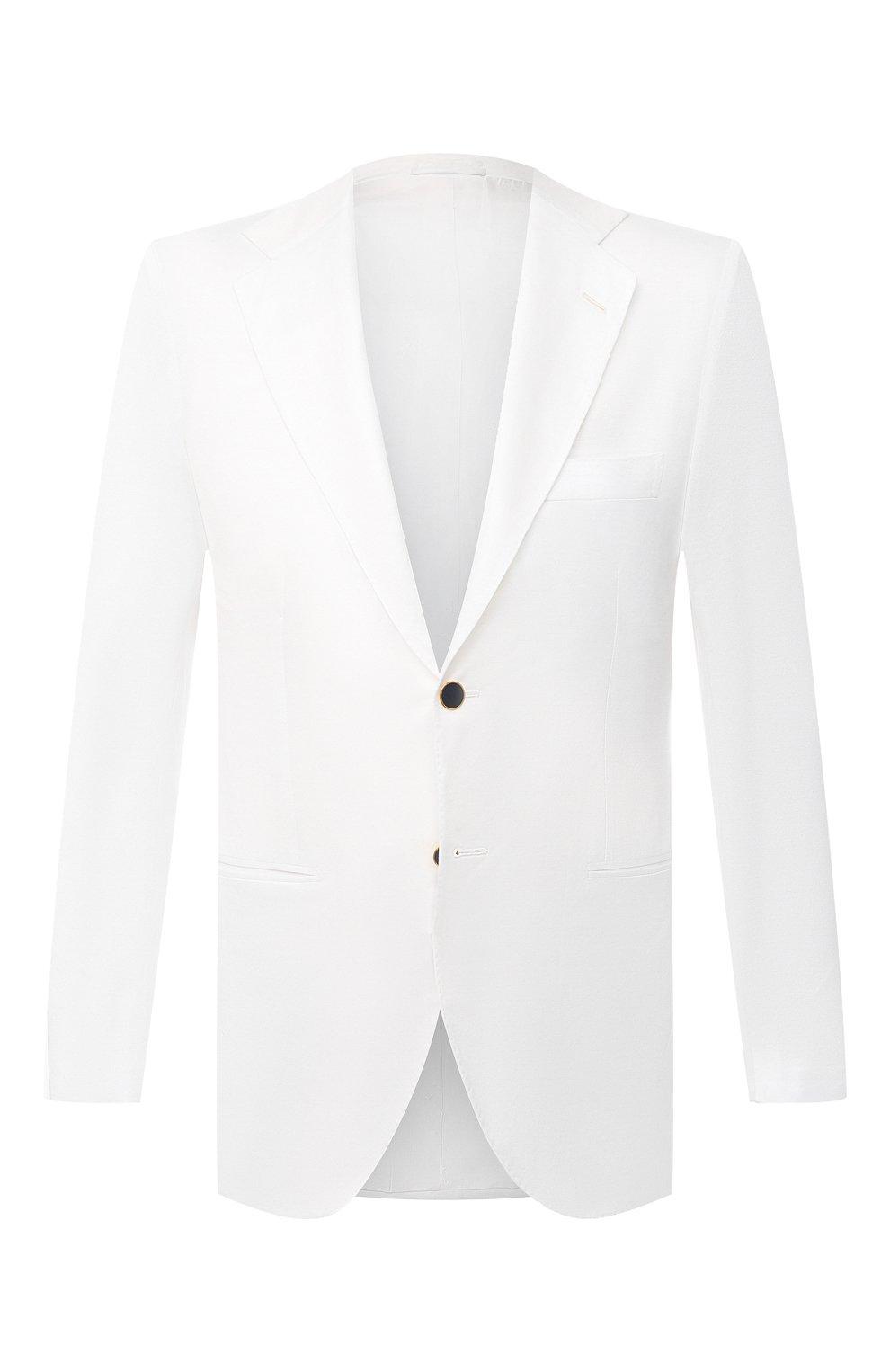 Мужской хлопковый пиджак KITON белого цвета, арт. UG81H07609   Фото 1