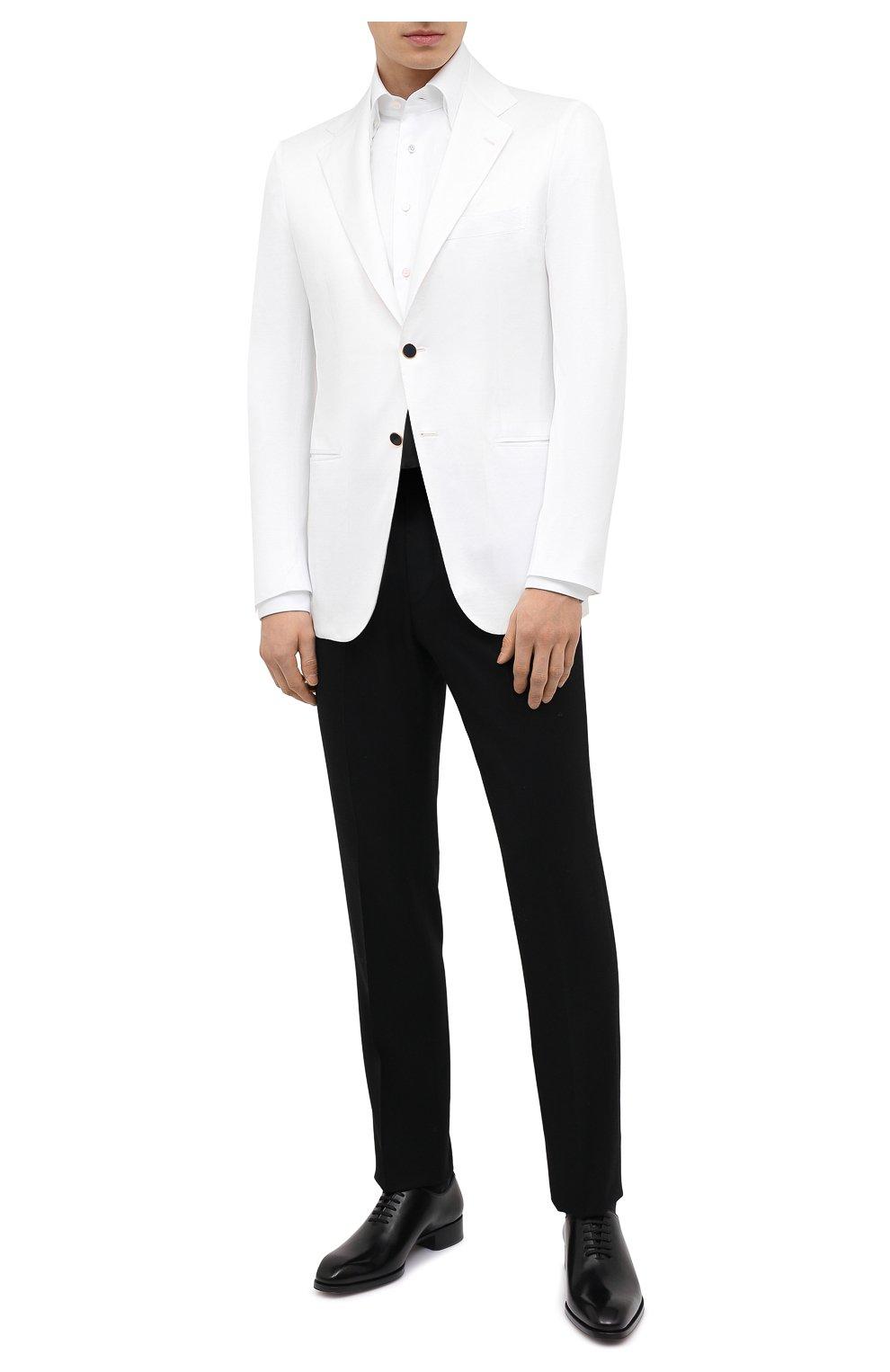 Мужской хлопковый пиджак KITON белого цвета, арт. UG81H07609   Фото 2