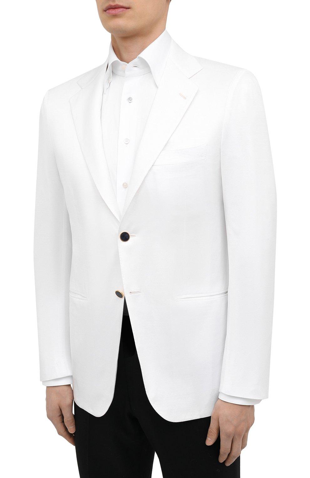 Мужской хлопковый пиджак KITON белого цвета, арт. UG81H07609   Фото 3